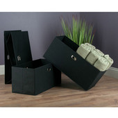 Torino Collection 3-Piece Set Folding Fabric Baskets in Black, 23-1/32'' W x 10-1/4'' D x 10-1/4'' H