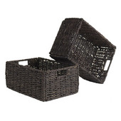 Granville Set of 2 Medium Foldable Baskets in Chocolate, 11''W x 16''D x 7''H