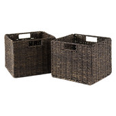 WS-38211, Granville Foldable 2-Piece Small Corn Husk Baskets, Chocolate, 11.02'' W x 10.24'' D x 9.06'' H