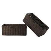 WS-38223, Granville Foldable 2-Piece Large Corn Husk Baskets, Chocolate, 22.83'' W x 10.24'' D x 9.06'' H