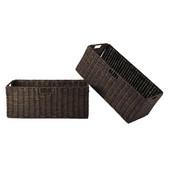 WS-38223, Granville Foldable 2-Piece Large Corn Husk Baskets, Chocolate, 22.83'' W x 10.24'' D x 9.06'' H