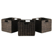 WS-38310, Granville Foldable 3-Piece Small Corn Husk Baskets, Chocolate, 11.02'' W x 10.24'' D x 9.06'' H