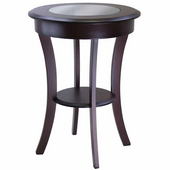 Cassie Round Accent Table with Glass, Cappucino Finish