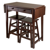 WS-40338, Mercer Double Drop Leaf Table with 2 Stools, Cappuccino, 49.76'' W x 18.48'' D x 33.86'' H