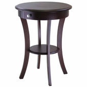 Sasha Round Accent Table, Cappucino Finish