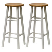 30'' Bar Stool in Natural Finish with White Legs