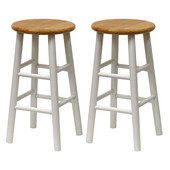 24'' Bar Stool in Natural Finish with White Legs