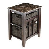 Zoey Side Table Faux Marble Top with 2 Baskets in Chocolate, 20-1/16''W x 16-9/16''D x 25-1/16''H