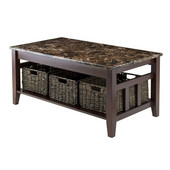 Zoey Coffee Table Faux Marble Top in Chocolate, 40''W x 22-1/16''D x 18-1/8''H