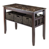 Zoey Console Table Faux Marble Top with 3 Baskets in Chocolate, 40''W x 18-1/8''D x 30''H