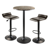 Cora 3pc Round Pub Table with 2 Swivel Stools in Black
