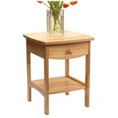 Curved Night Stand with Drawer and Shelf in Beechwood Finish