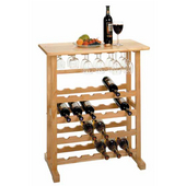 Wine Rack and Glass Holder, 24 Bottle Capacity, 31-1/2'' W x 16-1/4'' D x 35-3/4'' H, Beechwood
