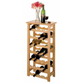 Wine Rack, 28 Bottle Capacity, 18-1/2'' W x 10-1/5'' D x 37'' H, Beechwood