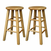 24'' Natural Wood Stools with Square Legs, Set of 2, 12''W x 12''D x 24''H