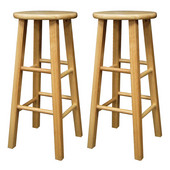 29'' Natural Wood Stools with Square Legs, Set of 2, 13''W x 13''D x 29''H