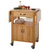 Drop Leaf Kitchen Cart, Beechwood, 25-35/64'' W ( 43-17/64'' W with drop leaf up) x 20-5/32'' D x 33-1/16''H