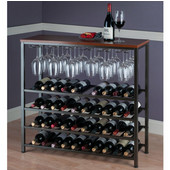 Michelle Wine Rack with Glass Hanger, Antique Bronze Metal Finish with Walnut Colored Top, 38''W x 14''D x 36-7/16''H