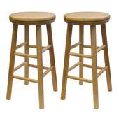 24'' Swivel Seat Bar Stool in Natural Finish
