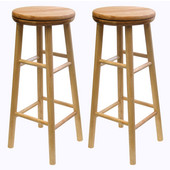 30'' Swivel Seat Bar Stool in Natural Finish, Set of 2