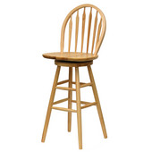 30'' Windsor Swivel Bar Stool with Arrow Back in Natural Finish