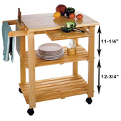 Utility Kitchen Cart, Beechwood, 33.33'' W x 20.13'' D x  31.63''H