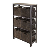 Granville 7pc Storage Shelf with 6 Espresso Foldable Baskets in Espresso / Chocolate
