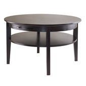Amelia Round Coffee Table with Pull out Tray in Dark Espresso, 30''W x 30''D x 18''H
