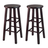 WS-92260, Set of 2, 30'' Bar Height Stools, Square Legs, Espresso, 13.6'' W x 13.6'' D x 29.1'' H
