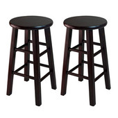 WS-92264, Set of 2, 24'' Counter Height Stools, Square Legs, Espresso, 13.4'' W x 13.4'' D x 24.2'' H
