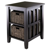 WS-92312, Morris Side Table with 2 Foldable Baskets, Espresso, 20.08'' W x 16.54'' D x 25.04'' H
