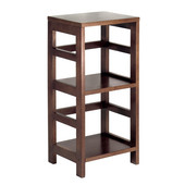 Narrow Storage Shelf with 2-Sections in Espresso Finish 13.5''W x 11.25''D x 29.25''H