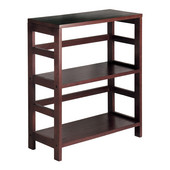 Wide Storage Shelf with 2 Sections in Espresso Finish 25.25''W x 11.25''D x 29.25''H