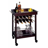 Wine Cart, 10 Bottle Capacity, 30'' W x 18-1/2'' D x 33-1/4'' H, Dark Espresso