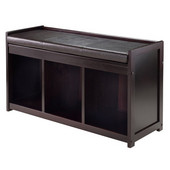 Addison 2-Pc Storage Bench with Cushion Seat in Espresso, 37-3/8''W x 13-1/2''D x 20-7/8''H