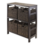 Granville 5pc Storage Shelf with 4 Espresso Foldable Baskets in Espresso / Chocolate