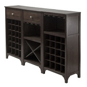Ancona 3-Pc Wine Cabinet Modular Set in Espresso, 19-1/16''W x 12-5/8''D x 37-1/2''H