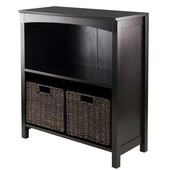 WS-92378, Terrace 3-Piece Storage 3-Tier Shelf with 2 Small Baskets, Dark Espresso, 25.98'' W x 11.81'' D x 30'' H