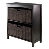 3pc Storage 3-Tier Shelf with 2 Large Baskets in Dark Espresso