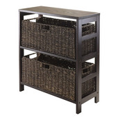 Granville 3pc Storage Shelf with 2 Large Baskets in Dark Espresso