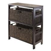 Granville 3pc Storage Shelf with 2 Large Baskets in Dark Espresso