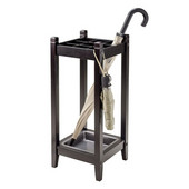 Jana Umbrella Stand with Metal Tray in Espresso