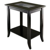 WS-92419, Genoa Rectangular End Table with Glass Top And Shelf, Dark Espresso, 23.94'' W x 16.3'' D x 25.04'' H