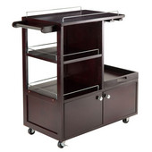 Galen Entertainment Cart in Espresso, 34-1/4''W x 16-3/4''D x 34-3/8''H