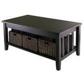 WS-92441, Morris Coffee Table with 3 Foldable Baskets, Espresso, 40'' W x 22.05'' D x 18.11'' H
