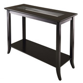 Genoa Rectangular Console Table with Glass and shelf in Dark Espresso, 40''W x 16-5/16''D x 29-15/16''H