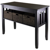 WS-92452, Morris Console Hall Table with 3 Foldable Baskets, Espresso, 40'' W x 18.11'' D x 29.92'' H
