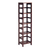 Narrow Storage Shelf with 4-Sections in Espresso Finish 13.5''W x 11.25''D x 55''H