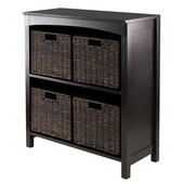 5pc Storage 3-Tier Shelf with 4 Small Baskets in Dark Espresso