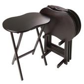 Skippy 5pc TV Table Set, Black, 23''W x 16-1/8''D x 25-13/16''H